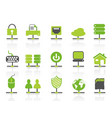 green color network connection icons set vector image vector image