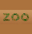 green wild animal recycled paper zoo sign concept vector image