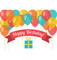 happy birthday greeting card with flying balloons vector image vector image