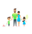 happy cartoon flat family portrait mother father vector image vector image