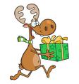 Happy Reindeer Runs With Bag vector image vector image