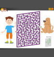 maze game with cartoon boy and puppy dog vector image vector image