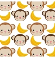monkey cartoon and bananas background vector image