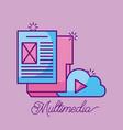 multimedia cloud folder file document paper vector image vector image