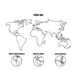 outline world map and world map in hemispheres vector image vector image