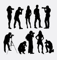 Photographer and model silhouettes vector image vector image