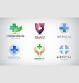 set medical cross logos health and care vector image