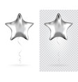 set of silver star foil balloons on transparent vector image