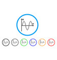 sinusoid plot rounded icon vector image vector image