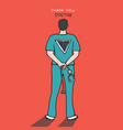 thank you doctor doctor standing shows hero sign vector image vector image