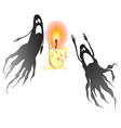two black ghosts and a burning candle isolated vector image