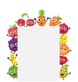 various fruits cartoon with blank sign vector image vector image