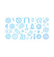 viruses blue outline banner made with virus icons vector image vector image