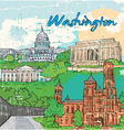 washington doodles vector image vector image