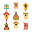 wooden birdhouses isolated icons nesting boxes to vector image