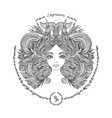 zodiac sign portrait of a woman capricorn vector image vector image