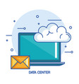data center laptop email cloud technology vector image