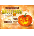 halloween party invitation with pumpkin vector image
