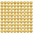 100 lumberjack icons set gold vector image vector image
