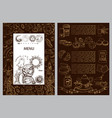 a chocolate color menu template with a text area vector image vector image