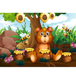 A cute bear under the tree with bees and pots of vector image vector image