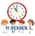 a group of children holding time banner vector image