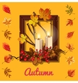 Autumn composition candles and photo frame vector image vector image