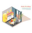 bafeeding isometric composition vector image