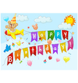 Birthday background with bear on plane vector image vector image