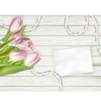 Bouquet of tulips on rustic wooden board EPS 10 vector image vector image