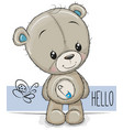 cartoon teddy bear on a white background vector image vector image