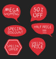 chalk drawing shopping labels set vector image vector image