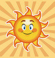 character sun happy with striped background vector image