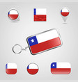 chile country flag on keychain and map pin vector image vector image