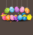Colorful eggs with funny baby chicken on gray vector image vector image