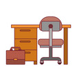 colorful graphic of work place office interior and vector image vector image