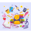 colorful of yellow backpack pile of books vector image vector image