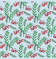 colorful seamless pattern with ashberry and leaves vector image