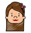 cute little girl head character vector image vector image
