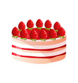 delicious cake with fresh strawberries and vector image