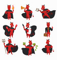 devil in cloak with horns and tail red skin demon vector image