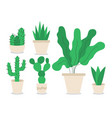 different houseplants flat color objects set vector image