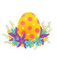 egg with colorful flowers vector image