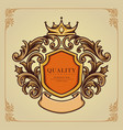 elegant badge crown ornate classic vector image vector image