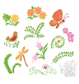 elements of flora and fauna vector image vector image