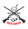 emblem template duck hunting club emblem with vector image vector image