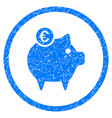 euro piggy bank rounded grainy icon vector image vector image
