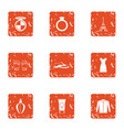 european town icons set grunge style vector image