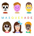 Face mask icons Faces with animals pig panda vector image vector image