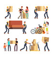 family moving into new house man woman and vector image